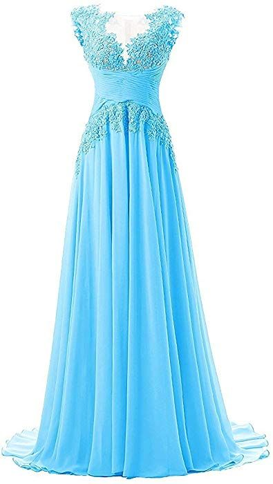 c40ef836ef5 PromQueen Women s Prom Dress Long Chiffon Applique Bridal Bridesmaid Dress  US2 Blue at Amazon Women s Clothing store