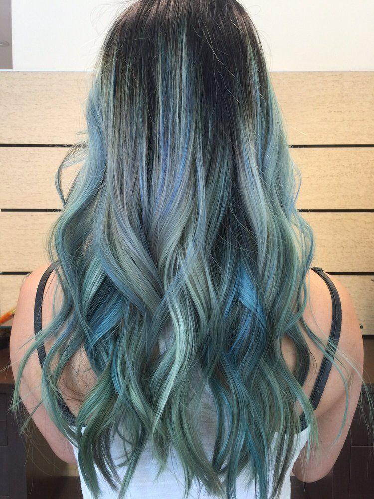 mint + electric blue signature Balayage/Ombré | Yelp