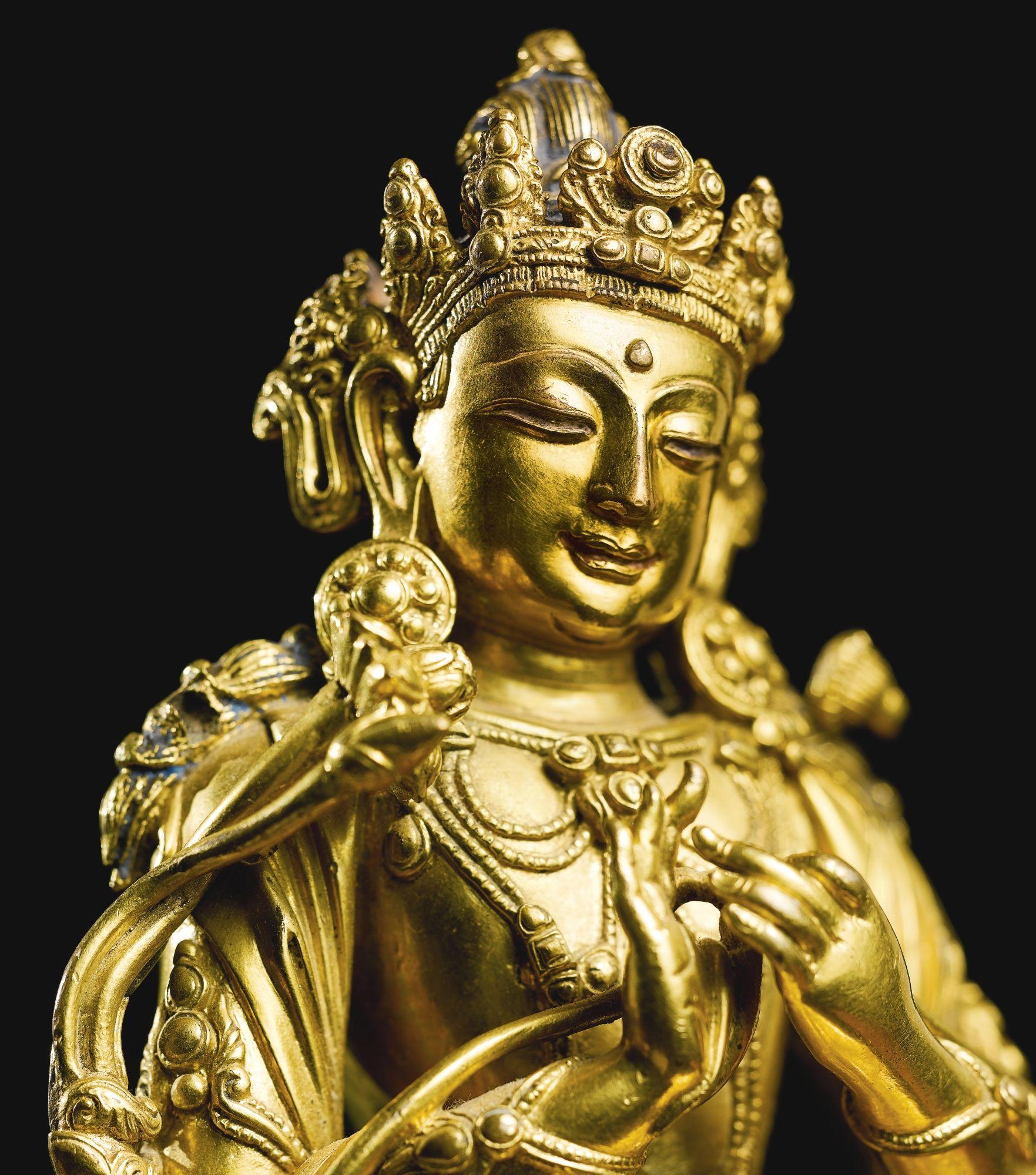 Buddhism: A Gilt-bronze Figure Of Manjushri, Yongle Mark And Period