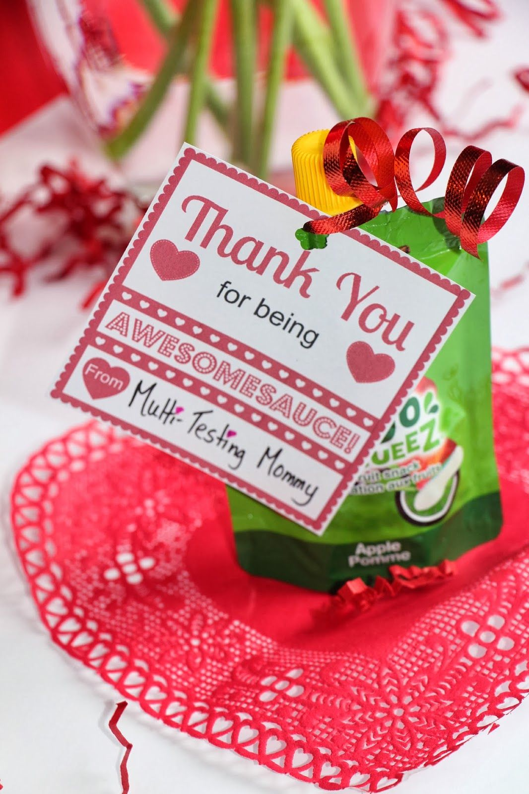 Happy Valentine's Day! Today, my children will receive a fun surprise in their lunches. A healthy applesauce treat with a Valentine's Day note. They love to receive notes in their lunches and they have even started to write me notes back, it makes my day! PRINTABLE Click on the above image to print off your free printable! Visit MommiesFirst.com for another super cute FREE Printable for Kids snacks and lunches. If you don't see a Disqus comment form at the bottom of the post, please use the…