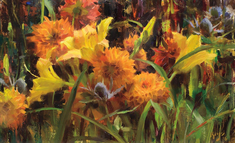 Daylilies, Dahlias and Thistle by Daniel Keys   Oil   LegacyGallery.com