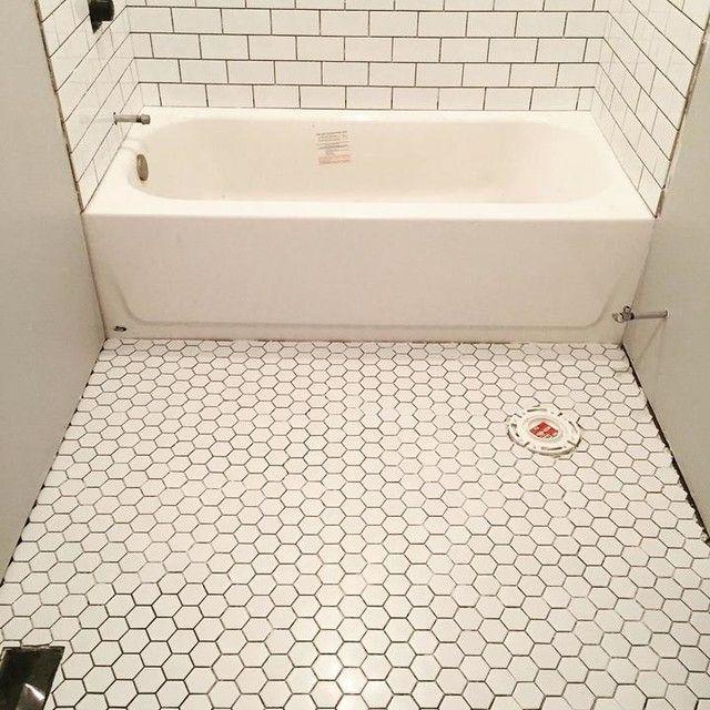 Bathroom Floor Tile Hex Gloss White Porcelain Mosaic Tile 2 X 2 In White Hexagon Tile Bathroom Octagon Tile Bathroom Bathroom Flooring
