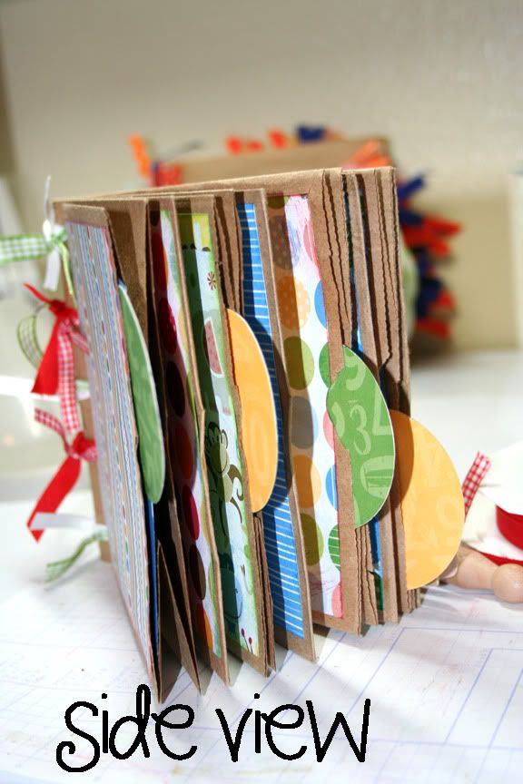 Sweet Pea Designs: Paper bag scrapbook class!   I love the uniformity of the tabs.