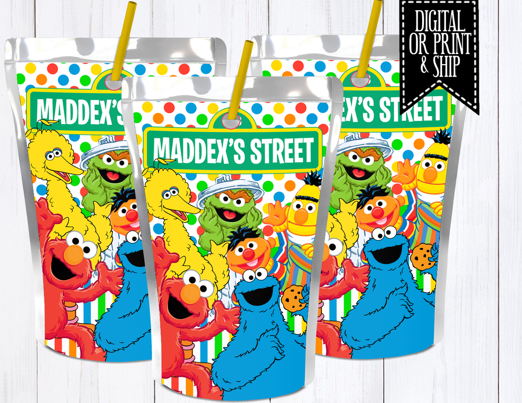 Sesame Street Juice Label Sesame Street Glossy Sticker Paper Sesame Street Party