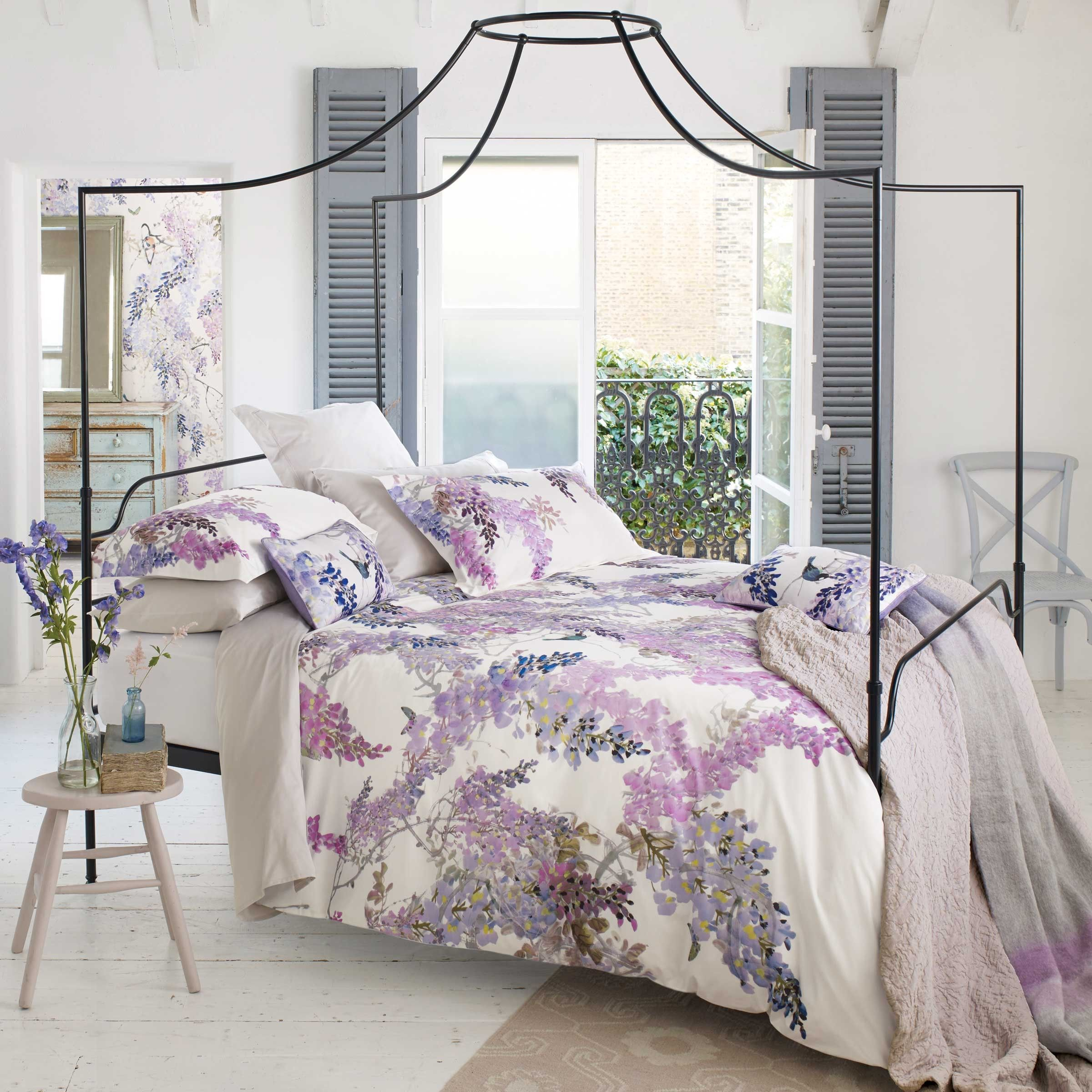 Lilac Floral Bedding Sanderson Wisteria Falls At Bedeck 1951 Lilac Bedding Bed Linens Luxury Luxury Bedding