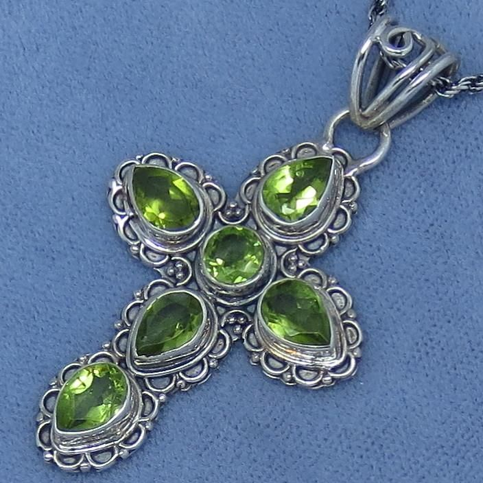 Genuine peridot cross necklace sterling silver victorian genuine peridot cross necklace sterling silver victorian filigree design hand made p261210 mozeypictures Image collections