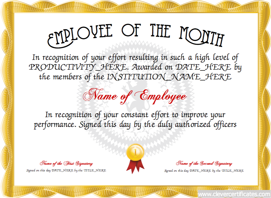 Employee of the month free certificate templates for for Employee of the month certificate template with picture