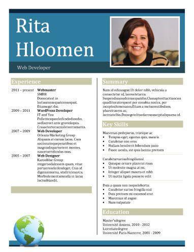 Big Bold Header Resume Template cv Pinterest - header for resume
