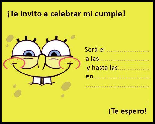 Invitación Cumpleaños Con Bob Esponja Party Invitation En