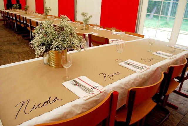 Kraft Paper Table Covering Ideas U2014 Wedding Reception Table Idea. Write  Guest Names Right On