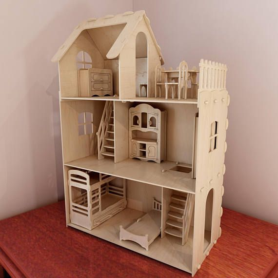Delightful Big Plywood Doll House V1 + Dolls Furniture Pack. Vector Model For CNC  Router And
