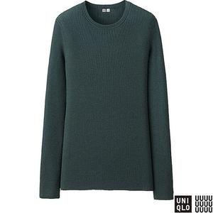 Women's U Cashmere Ribbed Crewneck Sweater