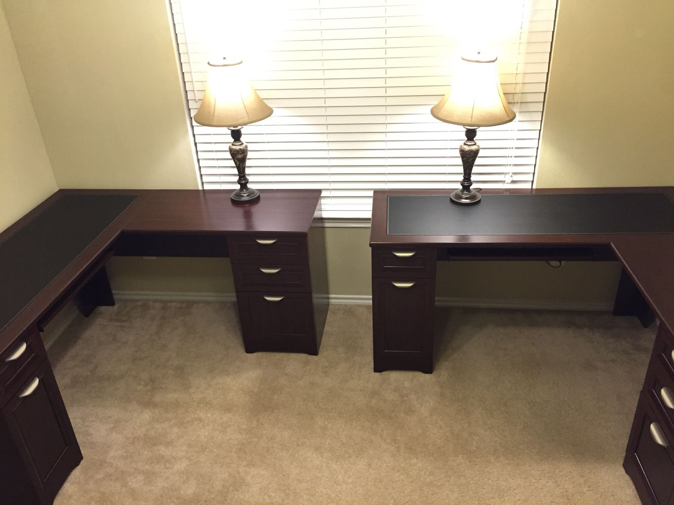 His And Hers Home Office Two L Shaped Desk From Office Depot Turned Out Good For Us Sadly Not