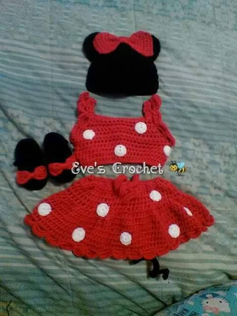 Baby minnie mouse crochet costume by Evescrochet8 on Etsy | Gorros ...