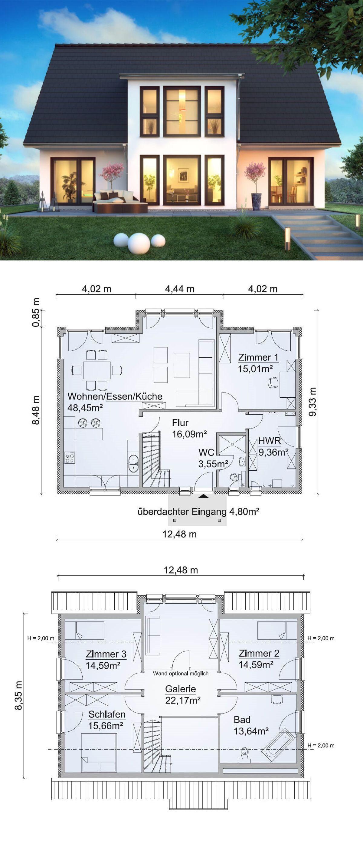 Einfamilienhaus SH 180 FS mit Zwerchgiebel - ScanHaus Marlow | HausbauDirekt #contemporarykitcheninterior
