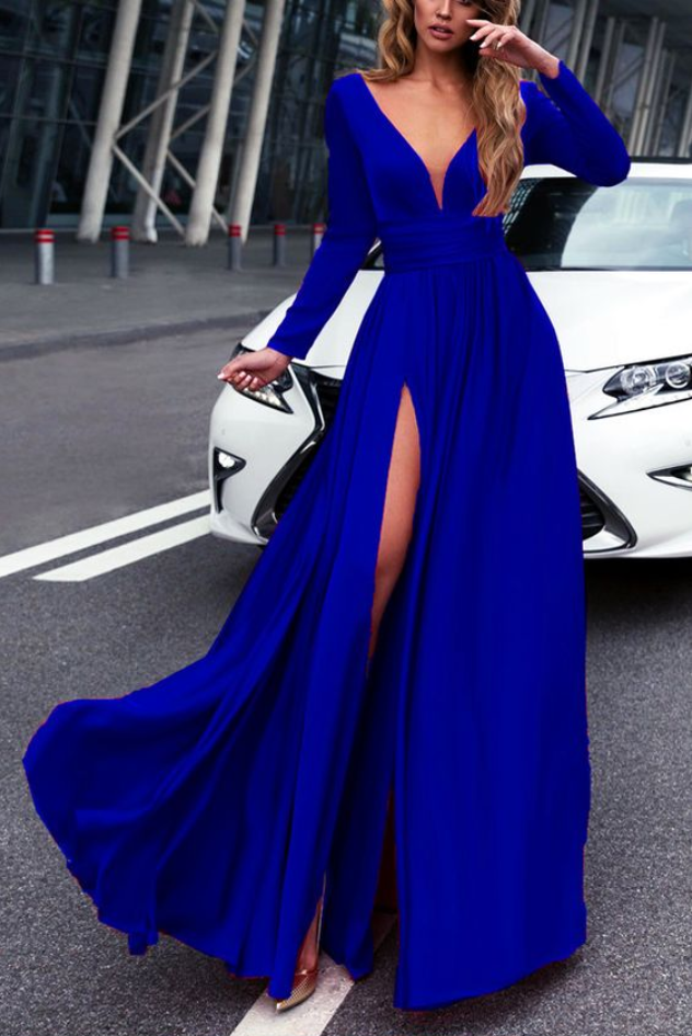 Royal Blue Long Sleeves Prom Dresses 2018 Leg #prom #promdress ...