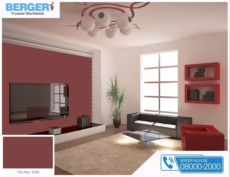 Tile Red Paint In Living Room Gives You Relaxation And Ease Berger Paints Paints Paint Color