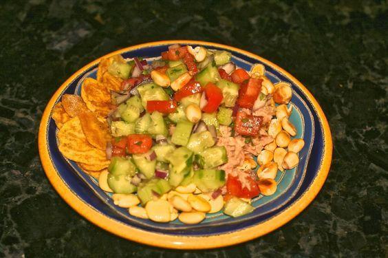 Volquetero Recipe - Ecuadorian Street Food - Puyo - fried plantain chips, tuna, onion, tomato, chulpe, chochos, cilantro, lime
