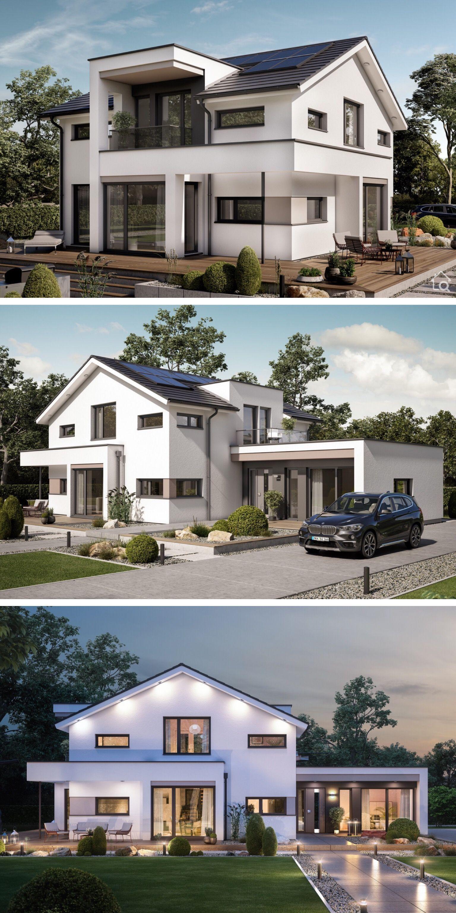 Fertighaus Modern Mit Satteldach Giebel Separater Buroerweiterung 5 Zimmern Erweiterung In 2020 Zwerchgiebel Architektur Haus Design Architektur Haus