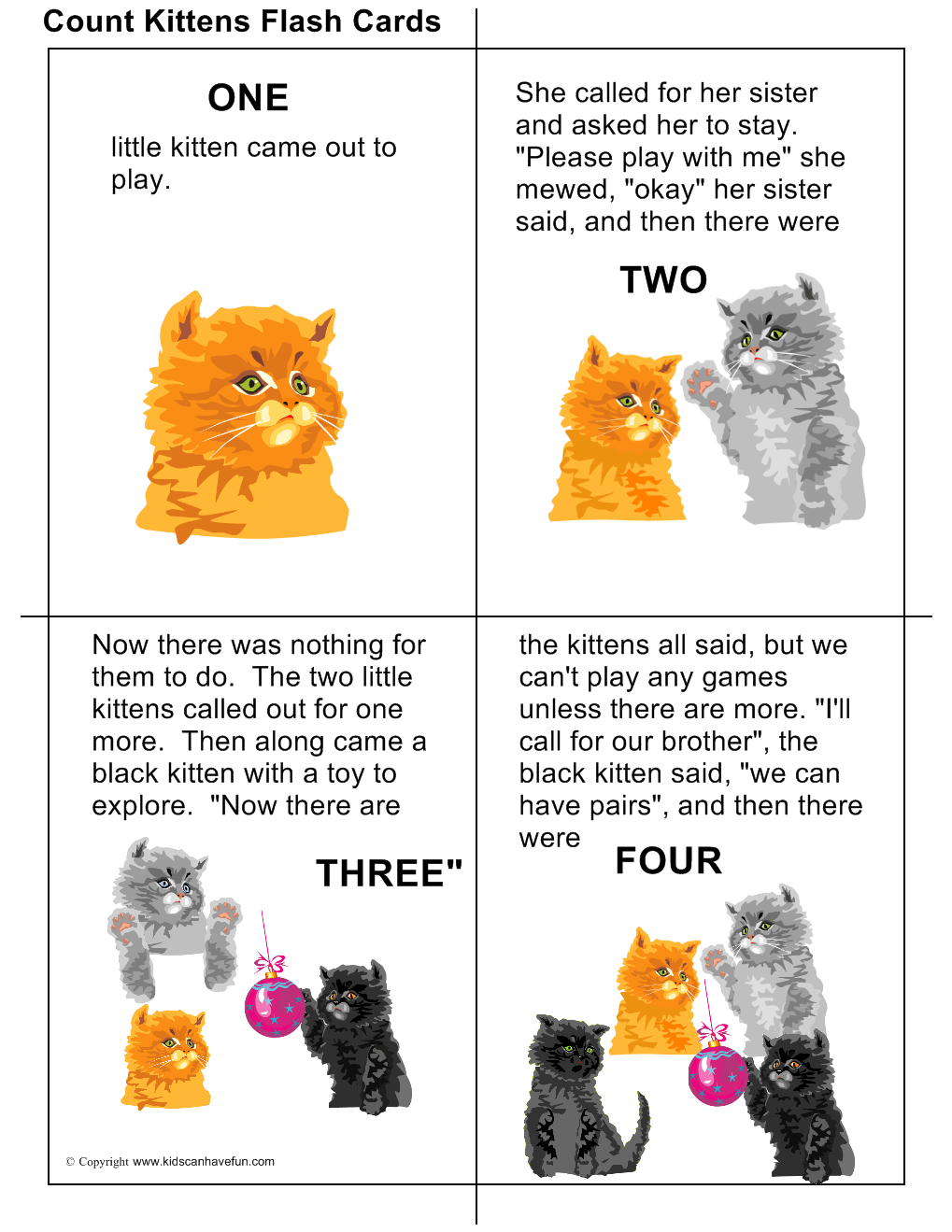 Count Kittens Flashcards With Rhyming Words Teach Kids How To Count With Kittens With Words Read And Print This Flashcards Kids Pages Printable Flash Cards