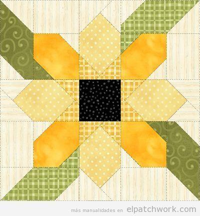 Patrones gratis para descargar de flores de patchwork 7 - Patrones para colchas de patchwork ...