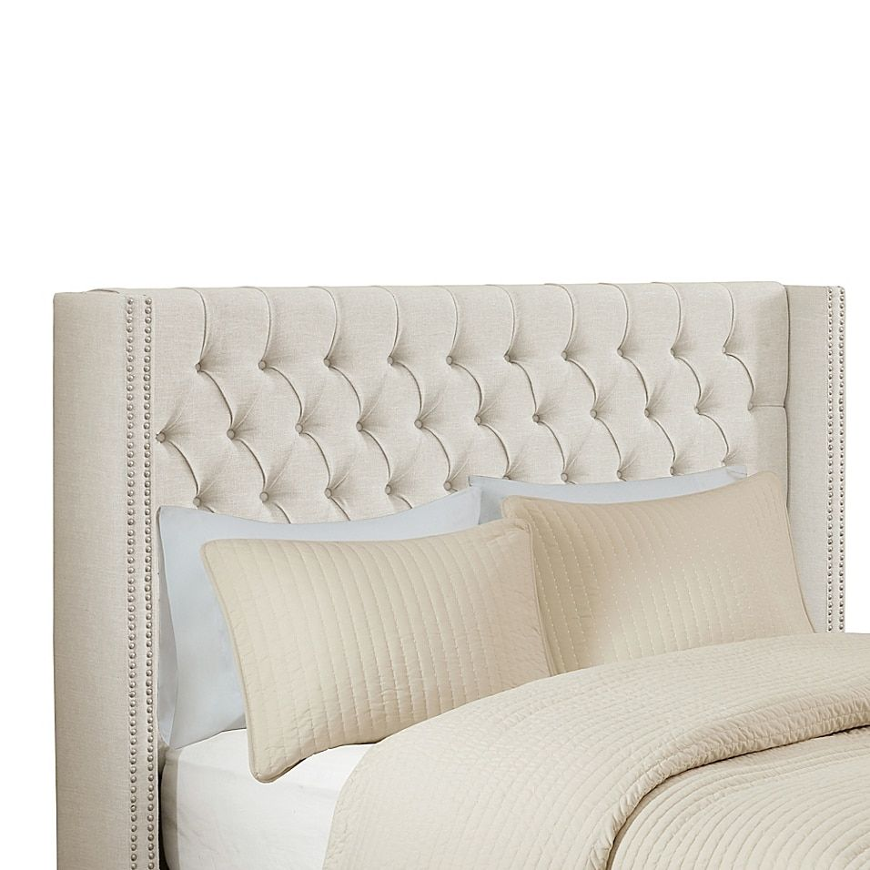 Madison Park Amelia Queen Upholstery Adjustable Headboard In Off White Wingback Headboard Glamourous Bedroom Upholstered Headboard