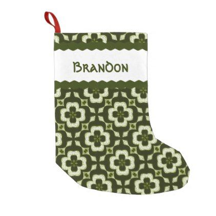Green Clover Monogrammed Small Christmas Stocking