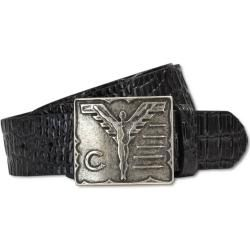 Photo of Real leather belt with croco embossing, black Carlo ColucciCarlo Colucci