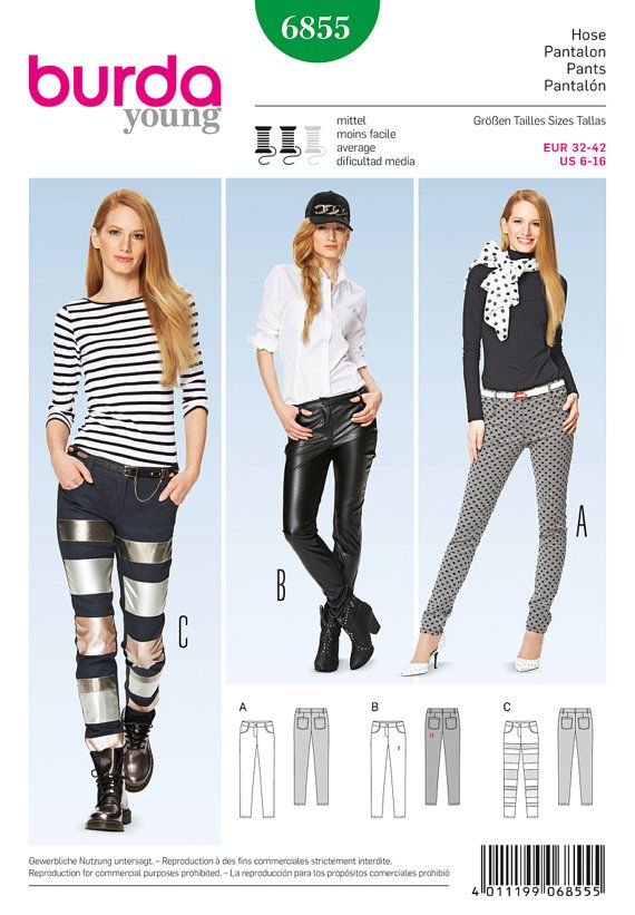 Burda Young Sewing PATTERN - 6855 - Pants & Jumpsuit - Sz 6-16 ...