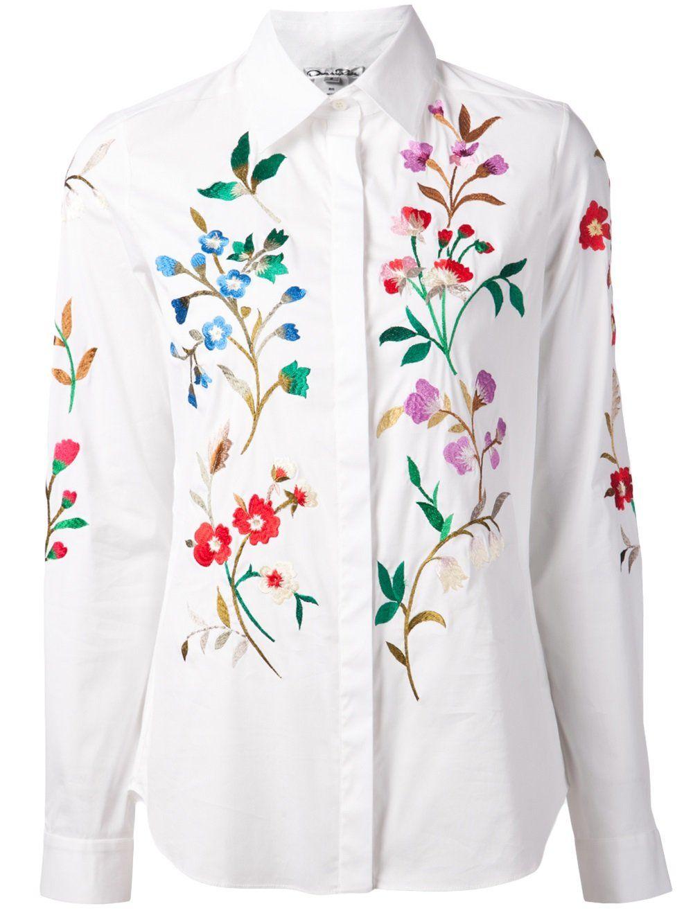 Oscar de la Renta Camisa bordada floral  5eb7ca2aba284