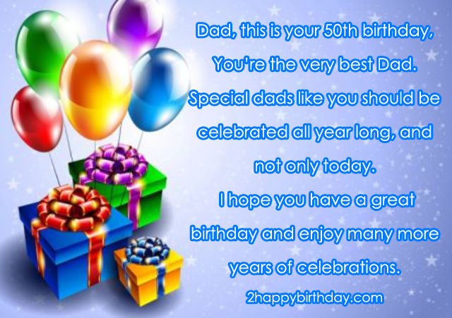 Happy 50th Birthday Dad Happy birthday wishes quotes