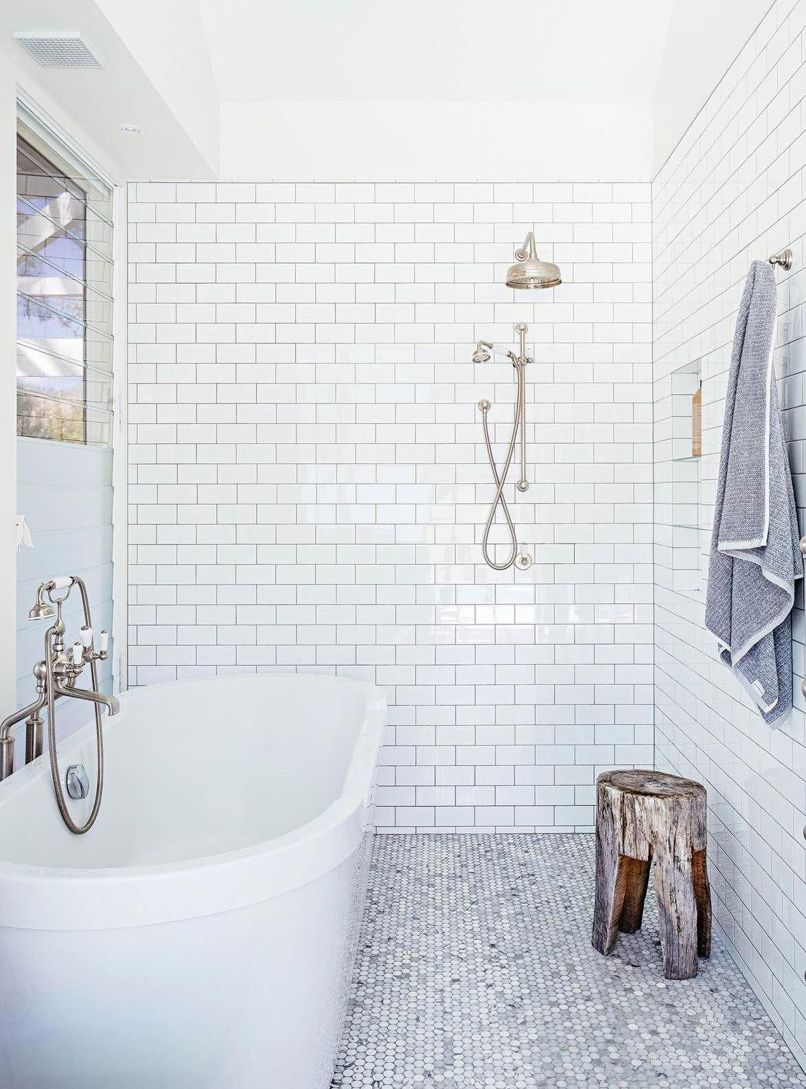 White Bathroom With Subway Tiles Grey Grout And Marble Penny Round Tile Flooring Photogra Penny Round Tiles Subway Tiles Bathroom Penny Round Tile Bathroom