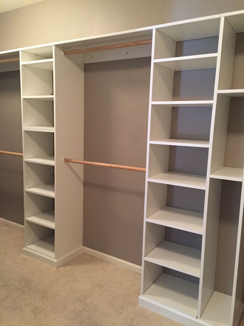 Baseboard Installed Around All Shelving Sections Adds A Custom Finished Touch Closet Layout Closet Remodel Bedroom Closet Shelves