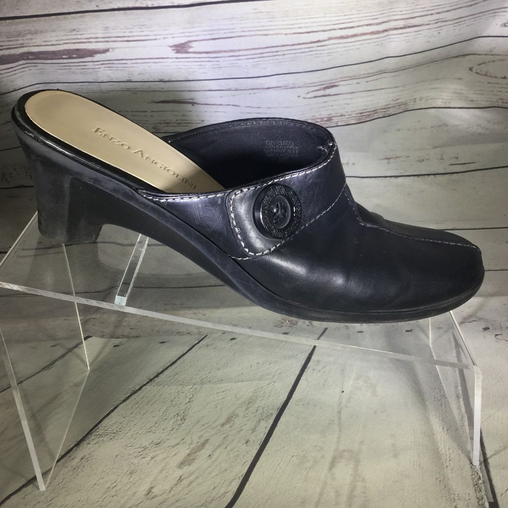 de7ba620ac Enzo Angiolini Mules Womens Size 7.5 M Black Leather Heels clogs Givemeo  #EnzoAngiolini #Clogs