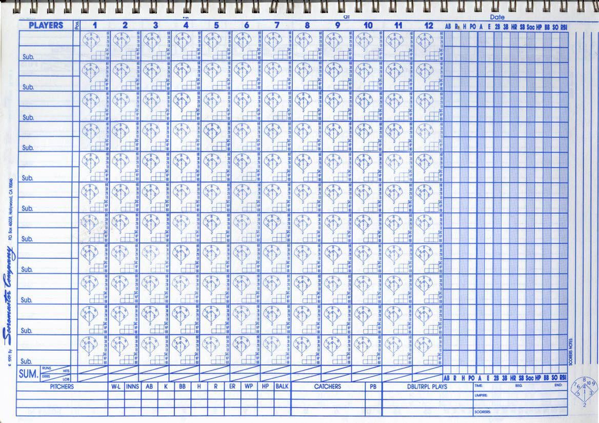 Free Baseball Score Sheets This Is A Sample Blank Baseball Scorebook Baseballscorekeeping Baseball Scores Espn Baseball Baseball Score Keeping