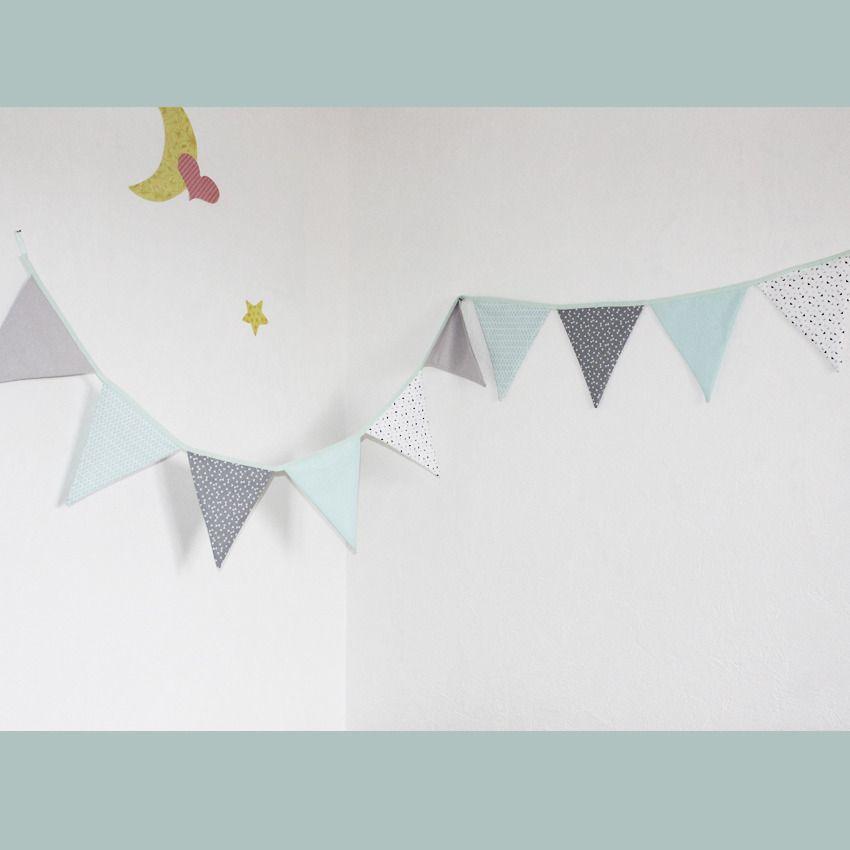 guirlande de 10 fanions en coton décoration chambre bébé couleur