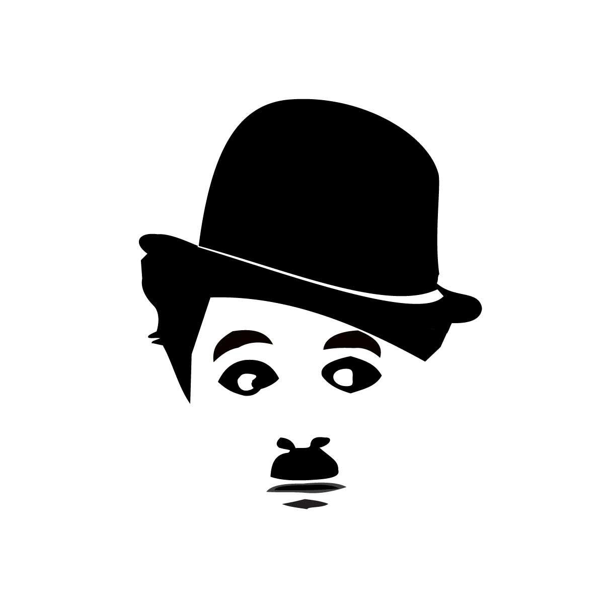 Remera Chaplin Rostro Hand Made Stencils Drawings