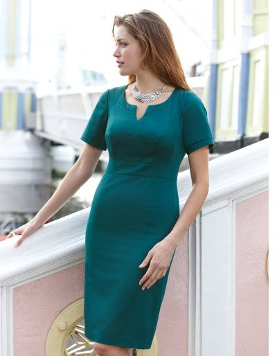 Who wouldn't want to go to work wearing this?  Notch Neck Dress  in Teal