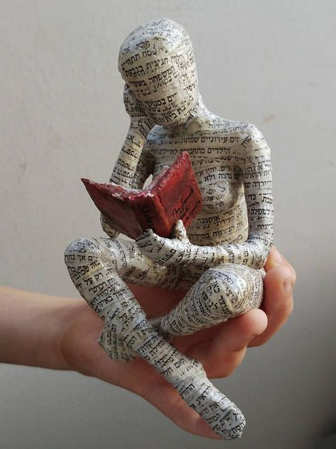 Reading woman, paper mache, bookshelf decor, bookish gift #bookspapersandthings