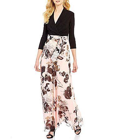 58b0487a61e Leslie Fay Surplice VNeck 34 Sleeve Floral Print Maxi Dress  Dillards