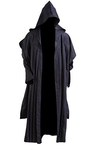 Boys Hooded Robe Halloween Fancy Dress Party Costume Black Brown Grey One Size