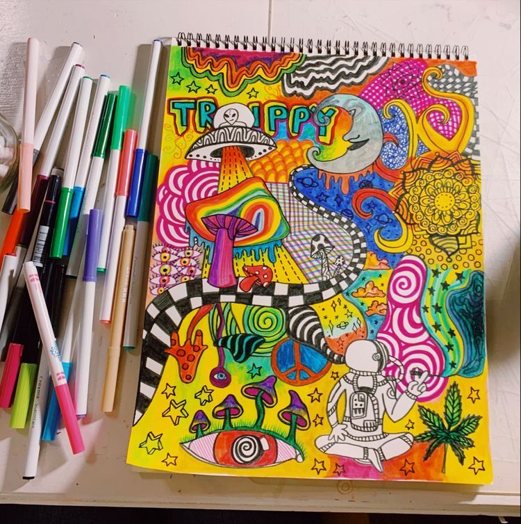 Zoe Hippie Painting Psychedelic Drawings Psychadelic Art