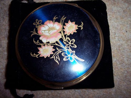 Navy Blue Shiny Floral Compact.