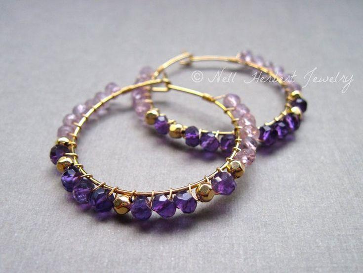 Photo of Amethyst Hoop Earrings, Amethyst and Gold Beads Wire Wrapped Hoop Earrings, Gold Hoop Earrings, Febr