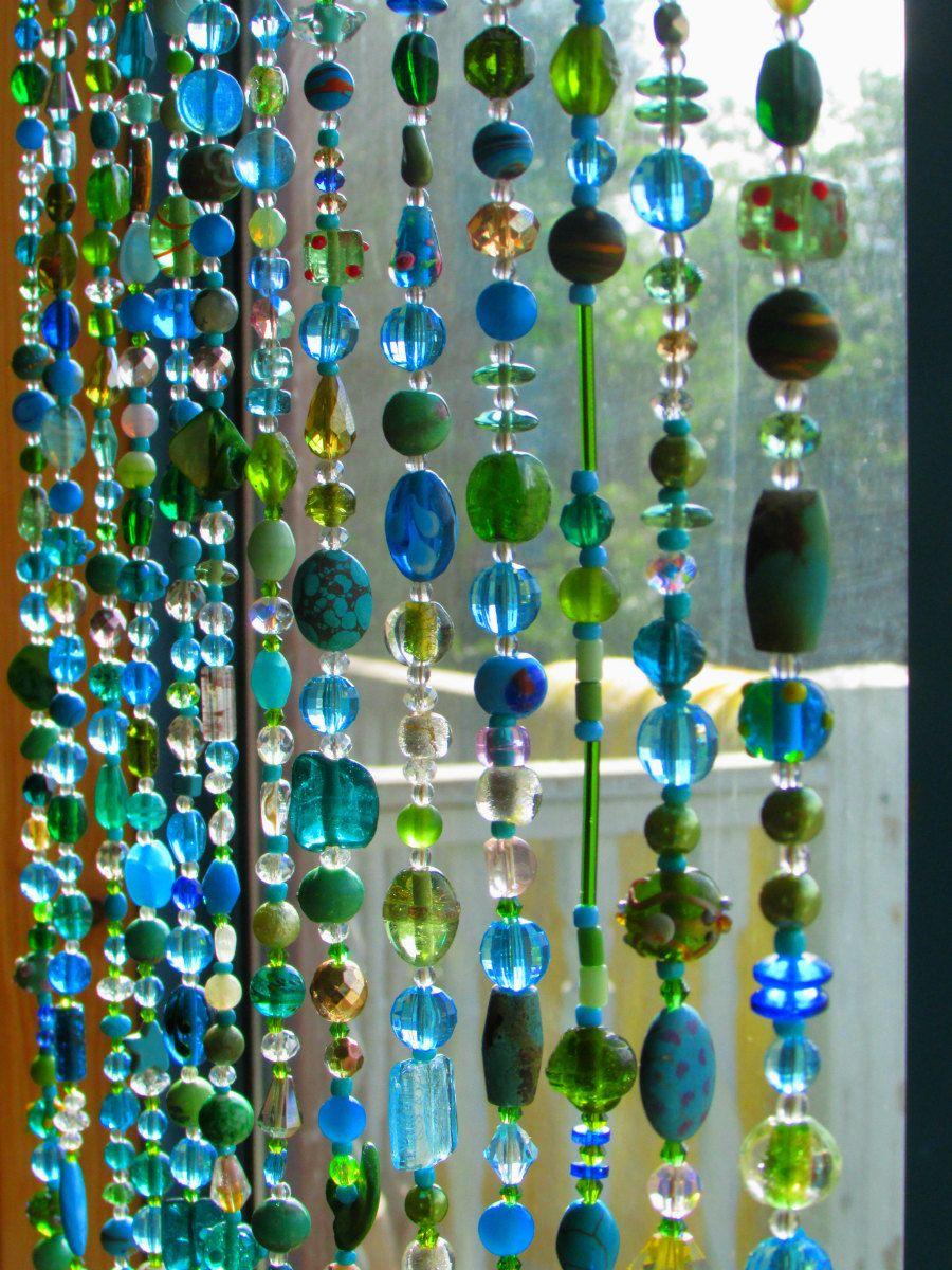Teal curtain beads - Beaded Curtain Multicolor Glass Beaded Suncatcher Window Curtain Beaded Door Mobile Eaded Door