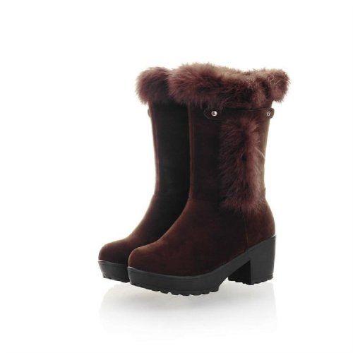 Fashion Faux-fur Womens Platform LOW Heel High TOP Snow Boots