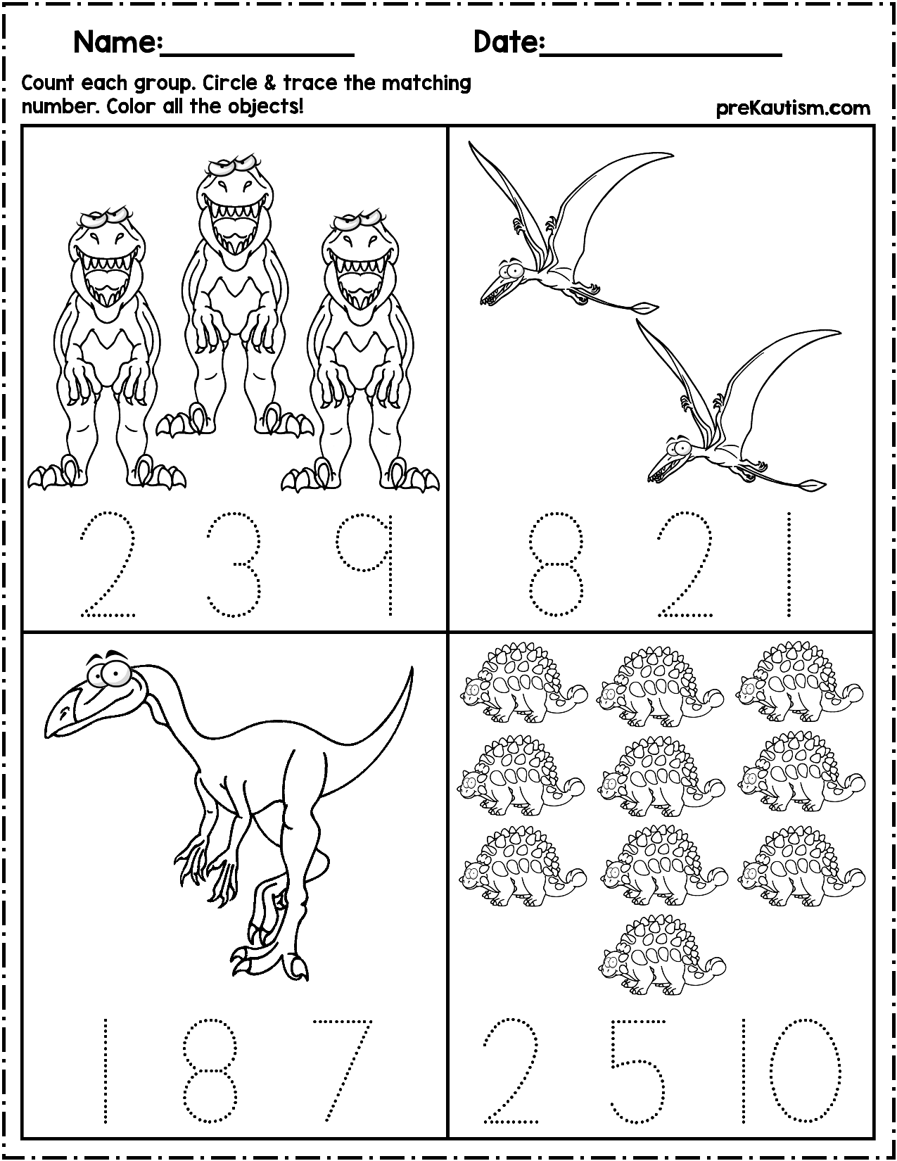 Dinosaur Count Number Write Writing Numbers Numbers Preschool Autism Math [ 1650 x 1275 Pixel ]