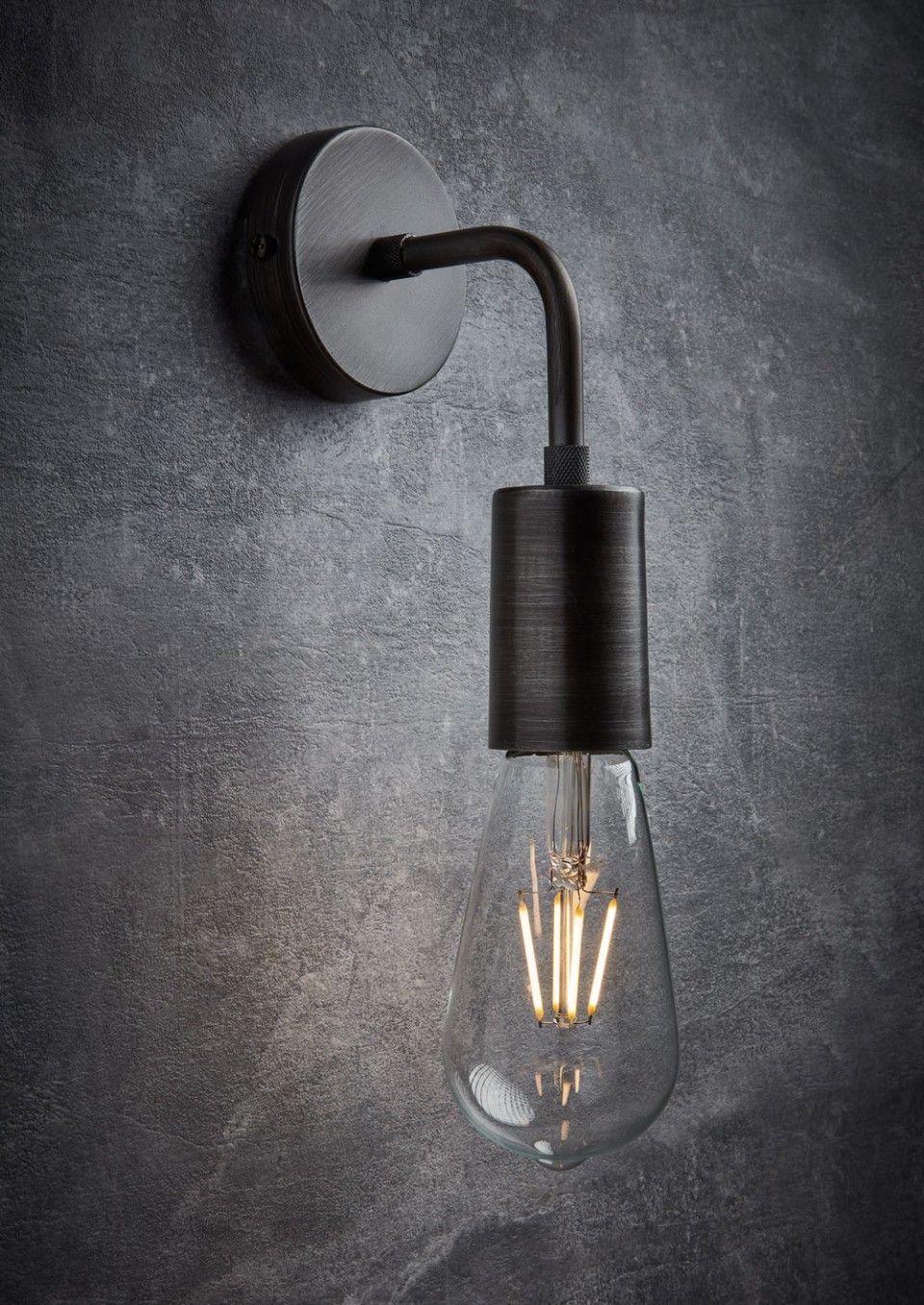 Vintage Sleek Edison Wall Light Pewter Industville Industrial Light Fixtures Vintage Industrial Lighting Industrial Bathroom Decor