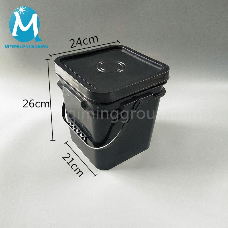 10l Black Square Plastic Bucket With Lids Plastic Bucket With Lid Pail Bucket Bucket With Lid
