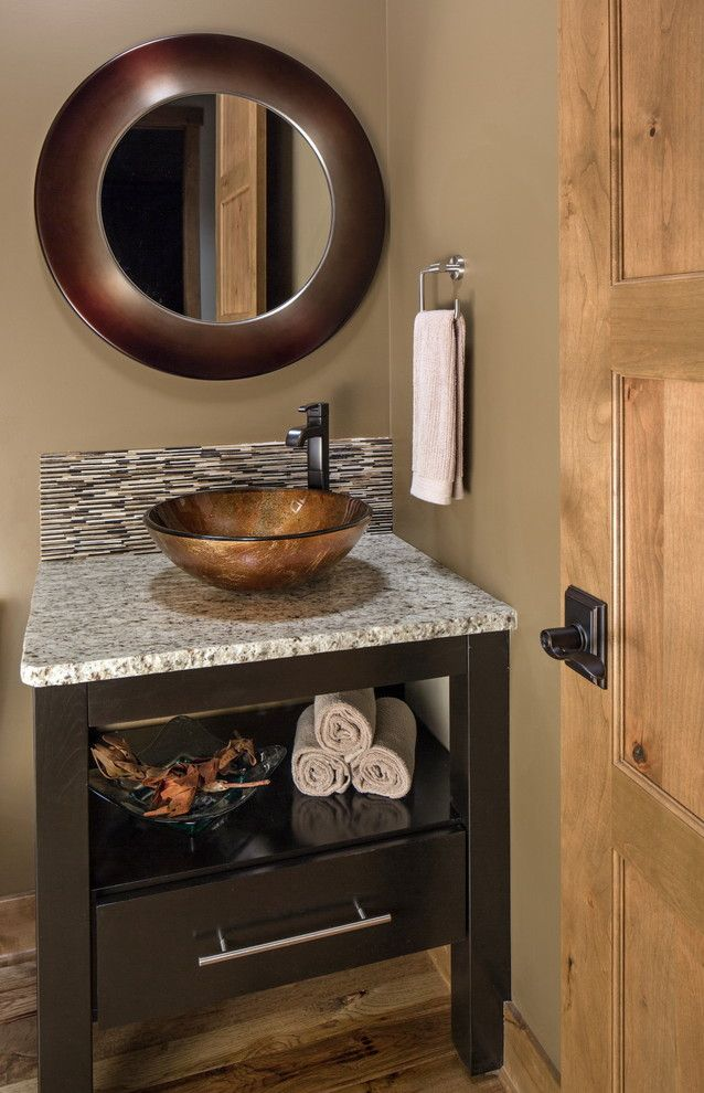 Vessel Sink Vanity In Powder Room Transitional With Glass Sink